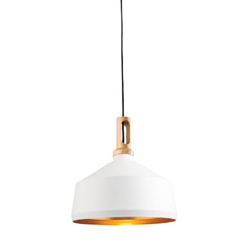 Matt white paint & light wood effect Pendant Light 61352 by Endon